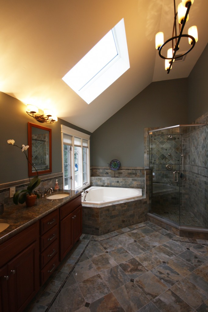 The radiant floor heat in this large scale bathroom still make it feel warm and cozy