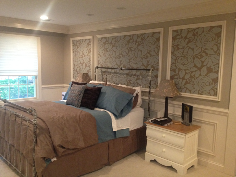 Strong Patterns and Bold Trim work differentiate this bedroom
